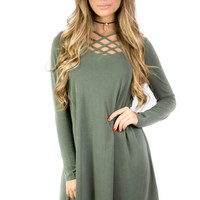 New Love Olive Long Sleeve Swing Dress