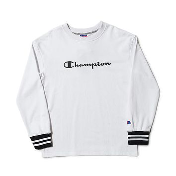 Champion Tide brand couple classic embroidery logo sports and leisure hooded hoodie white