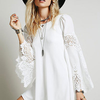 White Round Neckline Flared Sleeves Chiffon Mini Dress with Lace Details