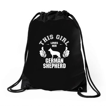 This Girl Loves Her German Shepherd Drawstring Bags