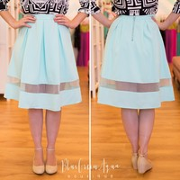 Mint Mesh Cut-Out Midi Skirt