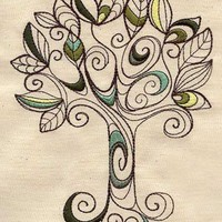 Leafy tree embroidered apron by MorningTempest on Etsy