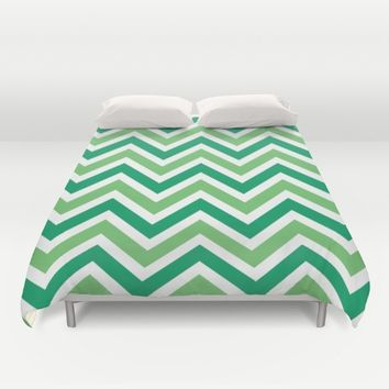 Green Chevron Duvet Cover by Tami Art