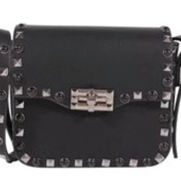 Crossbody Bag With Black and Silver Studs