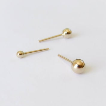 14k Gold Stud Earring, 14k Solid Gold Simple Round ball Post Earring, Gold Jewelry, Dot Stud, 14k solid gold stud, men gold stud