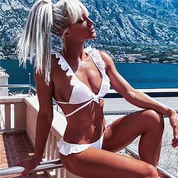 Sexy Ruffle Bikini Swimwear Women Push Up Swimsuit Bandage Bikini Set Bathing Suits Beach Wear Solid Bikinis