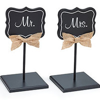 Decor Mr Mrs Chalkboard Wedding Signs with Stand