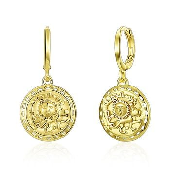 Unique In Style Trendy Earrings Sun Scribed Medallion Drop Earrings in 14K Gold