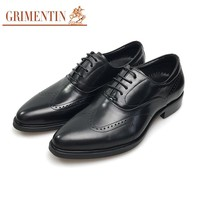 Mens Shoes Genuine Leather Black Oxford Shoes Lace Up