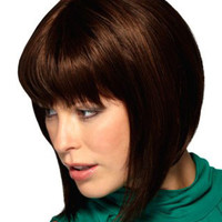 "12"" Chin Length Straight Bob Synthetic Wigs for Women Dark Brown"