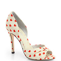 Gigi Heart-Printed Canvas Peep-Toe Pumps