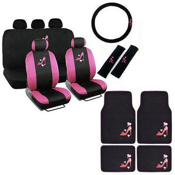 Licensed Official New Love Pink High Heels Car Front Back Seat Covers Floor Mats & Wheel Cover Set