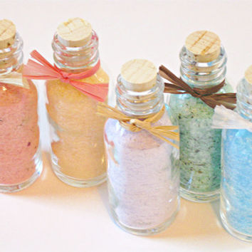 Scented Bath Salts, Sea Salt Soak, Sample Size, Party Favor, Bridesmaid Gifts- 1 oz bottles