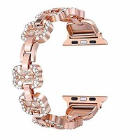 Bling Bands Compatible for Apple Watch Band 38mm Women Stainless Steel Metal Replacement Wristband Sport Strap for Iwatch Nike+, Series 3 2 1, Edition - Rose Gold