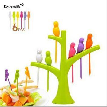Keythemelife 1 Set Tree Shaped Bird Tree Toothpick Holder Fruit Fork For Party Home Decor & Flatware Fork Kitchen Accessories FA