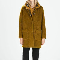 Long-Sleeve Button Woolen Coat With Pockets