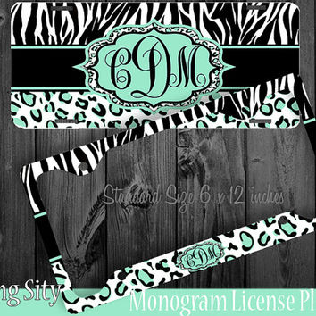 Leopard Monogram License Plate Frame Holder Mint Zebra Snow Cheetah Animal Print Pattern Personalized Custom Vanity Tag Cover