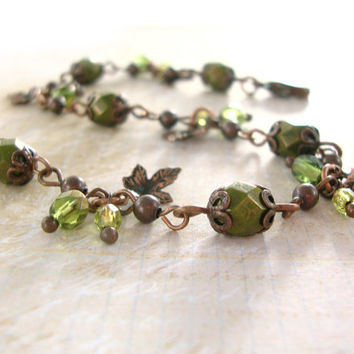 Olive Green and Copper Bracelet - Nature Woodland Jewelry - Autumn Jewelry - Autumn Maple Leaf Bracelet - Vintage Copper Autumn Bracelet