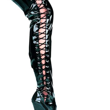 Ellie Shoes Ferocious Thigh High Side Lace Up Platform Boots (5,Black)