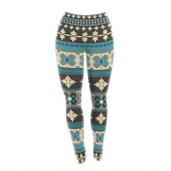 "Nandita Singh ""Borders Blue"" Teal Yellow Yoga Leggings"