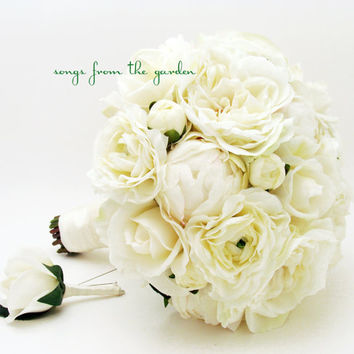 Peonies & Lace Bridal Bouquet Groom's Boutonniere Garden Rose Silk Ranunculus Real Touch White Rose White Silk Bud Peonies