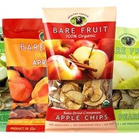Bare Fruit 100% Organic Bake-Dried Snacks, Sample Box, 63 Grams, 6ct, Variety Pack