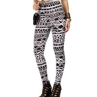 Black/White High Waisted Tribal Leggings