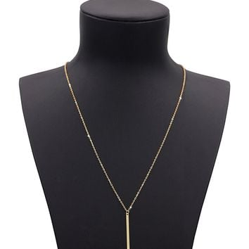 Geerier Gold Chain Y Type Simple Bar Necklace Pendant Bar Drop At Center Long Lariat Necklace