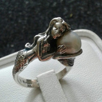 Antique Mermaid Pearl Sterling Silver Ring