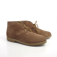 Leather Desert Boots Vintage 1980s coaster Suede Short Ankle Lace Up Chukka women's size 8 1/2
