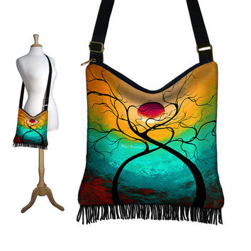 NEW Hippie Bag Hobo Purse Crossbody Slouch Bag Gyspy Boho Fringe Bag,  MADART  Twisting Love tree moon zipper aqua violet yellow red (RTS)