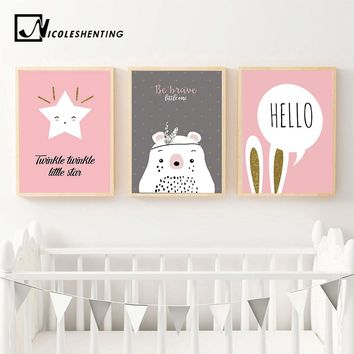 Kawaii Bear Rabbit Cartoon Wall Art canvas Posters Star Moon Mountain Nursery Print Nordic Painting Picture Children Room Decor