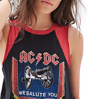 FOREVER 21 AC/DC Muscle Tee Black/Red