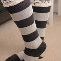 Gray Striped Knit Frilly Boot Socks