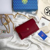 Kuyou Gb99822 Tory Burch Twist Chain Wallet In Burgundy Grained Leather 1986 19cm*13cm*5cm