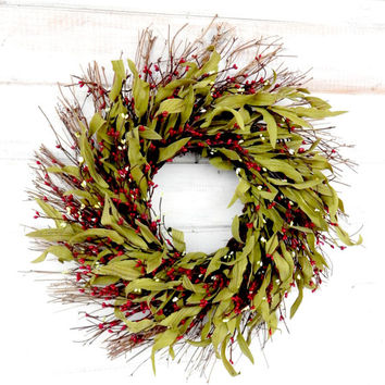 Fall Wreath-Christmas Wreath-Holiday Wreath-RUSTIC RED Twig Wreath-Rustic Fall Wreath-Holiday Home Decor-Front Door Decor-Custom Wreaths