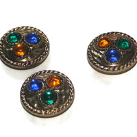 Gemstone and Gold Tone Button Covers, Vintage Button Cover