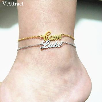V Attract Personalized Name Anklet Bracelet Best Friends Beach Jewelry Graduation Gift Rose Gold Custom Name Foot Tornozeleira