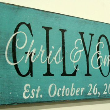 Personalized Name Sign Custom Name Sign Family Name Sign Last Name Sign Turquoise Shabby Chic Cottage Chic Vintage Distressed Wood Handmade