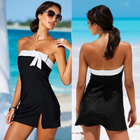 Summer Beach Wear Dress Bow Black Mini Holiday Girls Sexy Swimwear Tunics Beachwear Clothes VVS = 1956818692