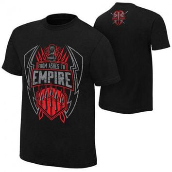 "New Arrival Roman Reigns ""From Ashes To Empire"" T-Shirt Cotton Shirt Cena Seth Rollins AJ Styles Dean Ambrose T-Shirts MC0199"