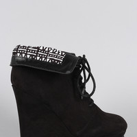 Qupid Suede Tribal Collar Round Toe Lace Up Wedge Booties