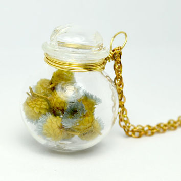 Grey color dried happy flower in blown glass jar long necklace