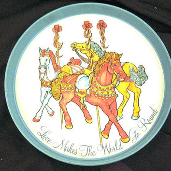 Love Makes the World go Round Carousel Tin Serving Tray.