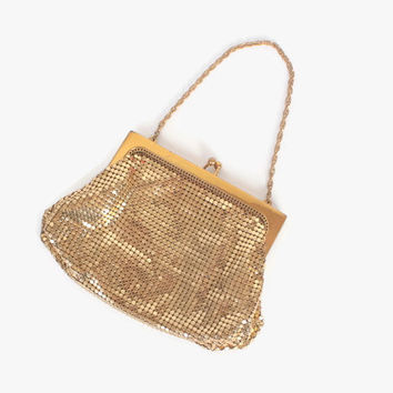 Vintage 30s WHITING & DAVIS Purse / 1930s Shiny Gold Metal Mesh Evening Bag Purse