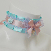 Kitten play collar - Sweet Marie Louise - ddlg little satin princess choker with big bow - kawaii cute fairy kei violet lilac green and pink