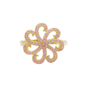 Gold Plated Sterling Silver, Pink CZ Flower Ring