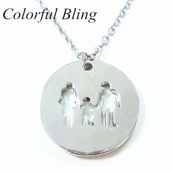 Mama Family Necklaces Jewelry Silver Color Love Boy Girl Pendant Choker Necklace Women Kids Family Member Christmas Gift
