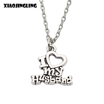 XIAOJINGLING New Arrival Christmas Sweet Gift I Love My Husband Design Heart  Charm Pendant Necklace Best Jewelry For Couples