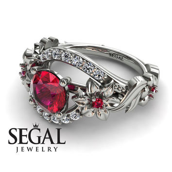 Unique Engagement Ring Diamond ring 14K White Gold Floral And Leafs Vintage Ruby With White diamond - Layla